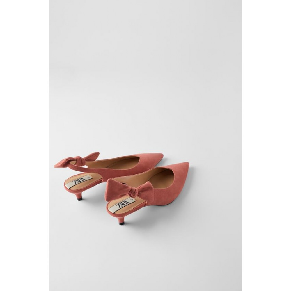 Zara Heeled Slingback Shoes With Bow