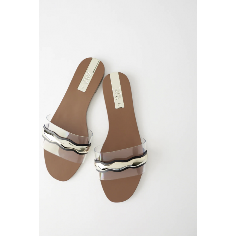 Flat Vinyl Sandals With Metal Detail Trf