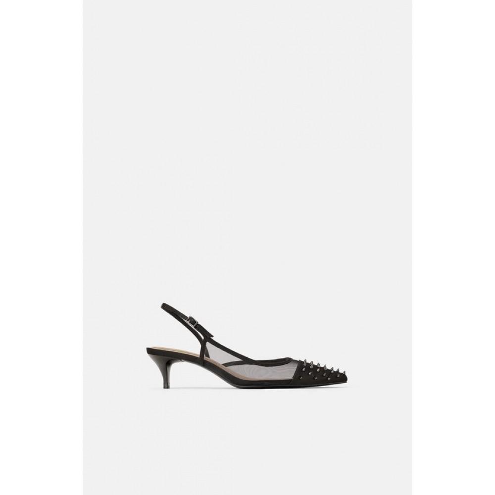 Zara Studded Mesh Slingback heels