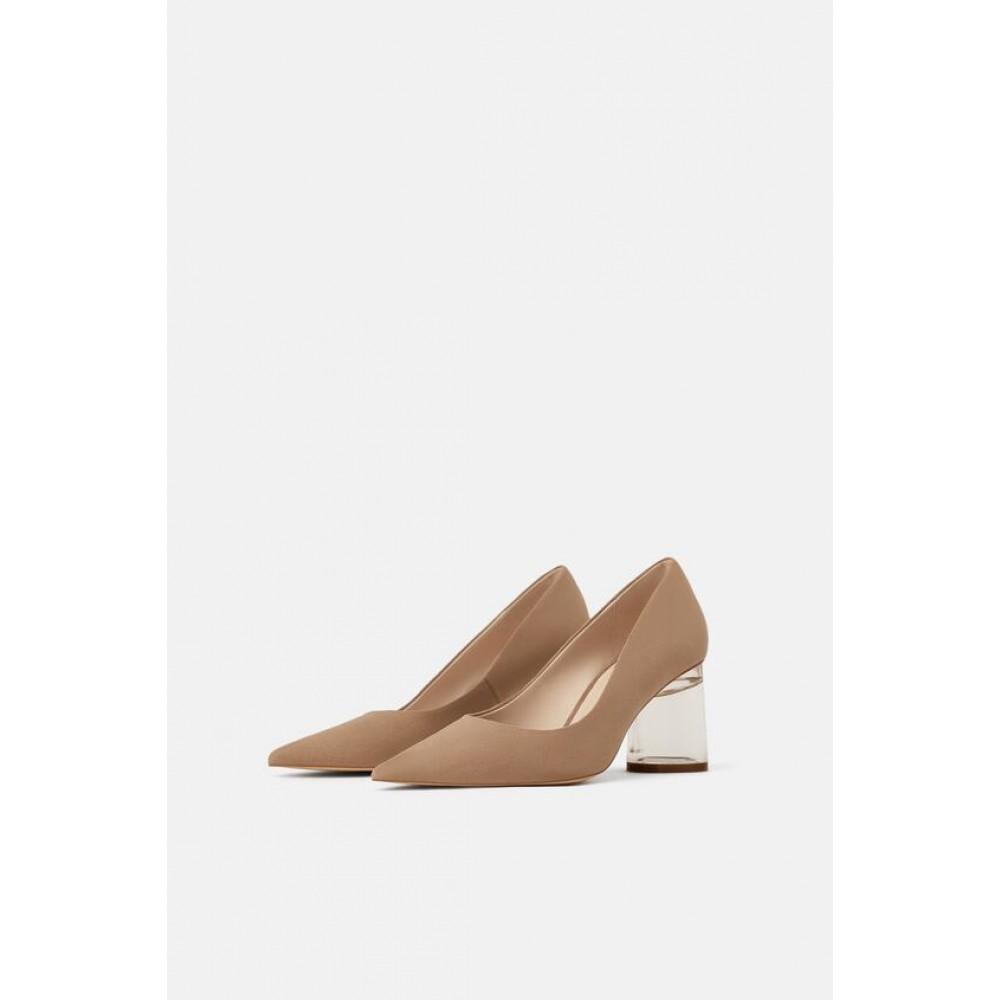 Zara Vinyl Sandals With Methacrylate Heels
