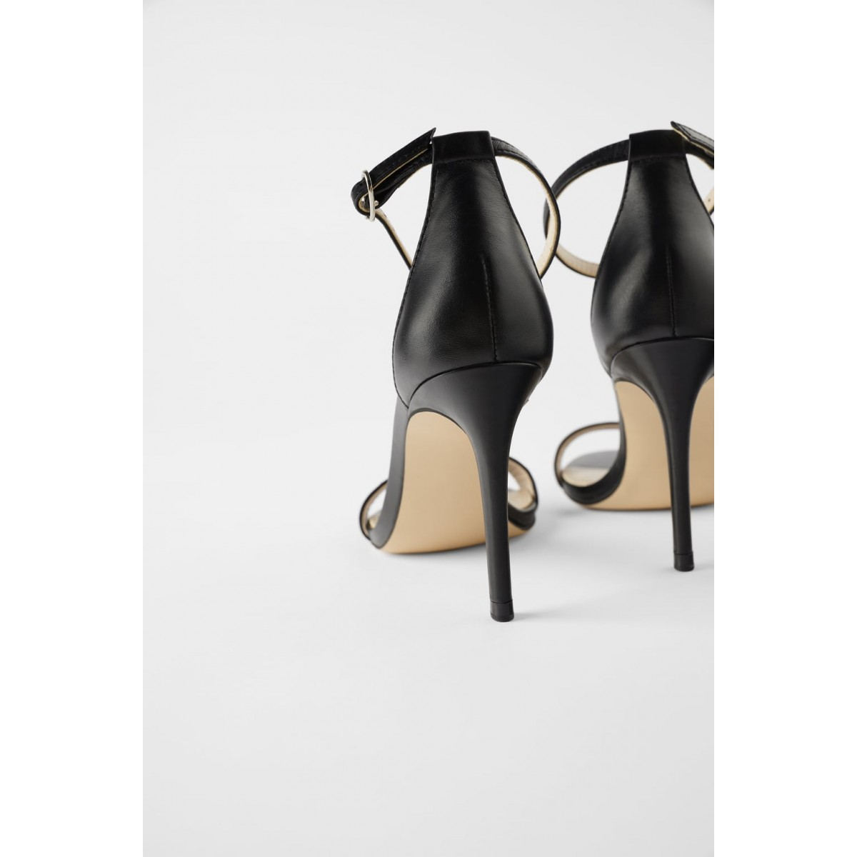 Zara Leather High Heels Sandals (Black)