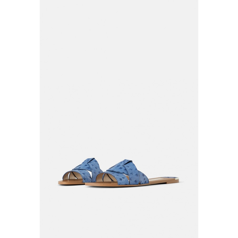 Zara Animal Print Leather Flat Sandals (Blue)