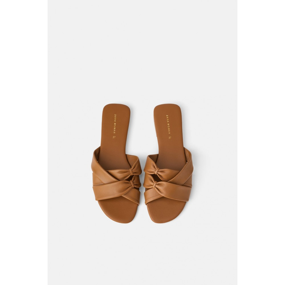 Zara Flat Leather Sandals With Crisscross