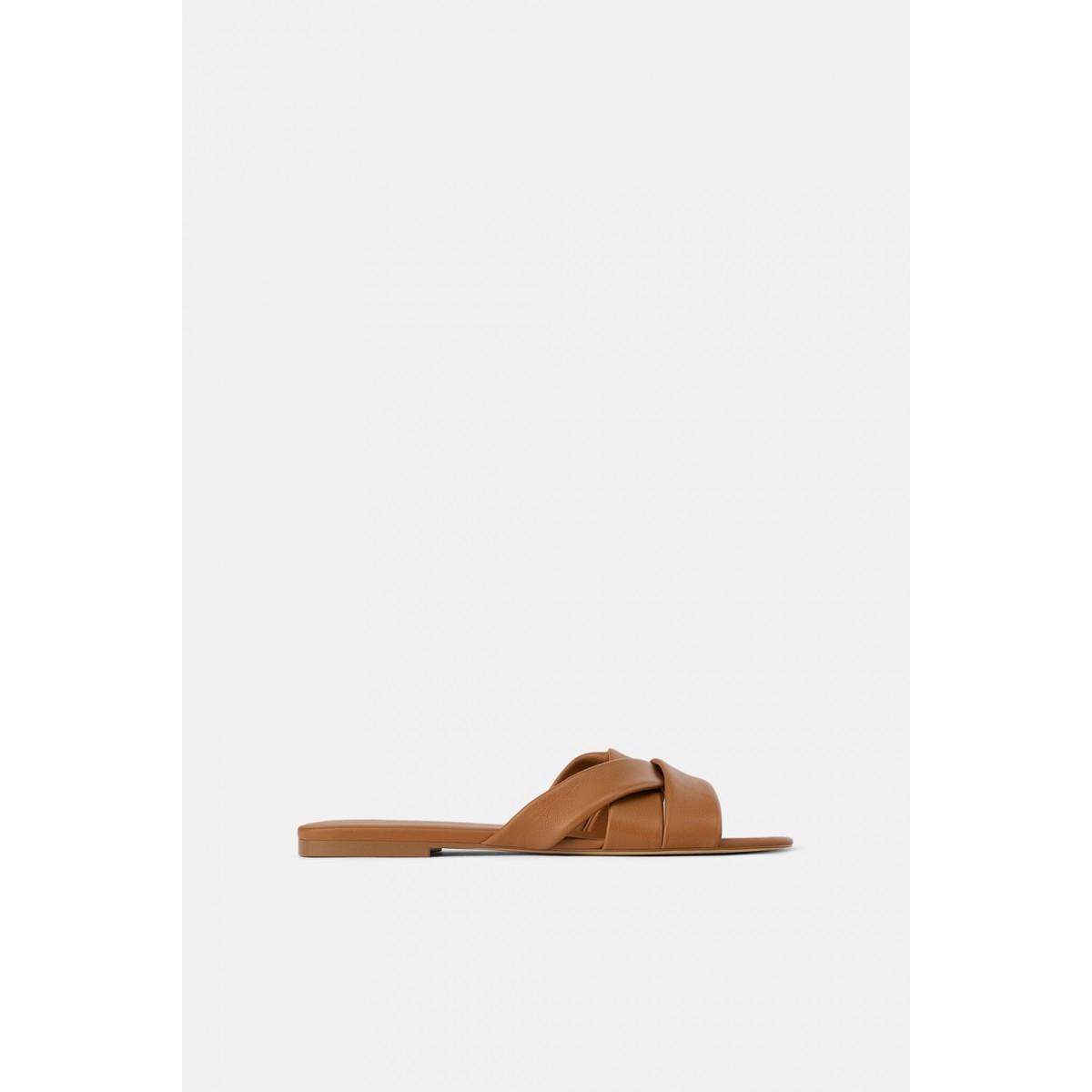 Zara Flat Leather Sandals With CrissCross