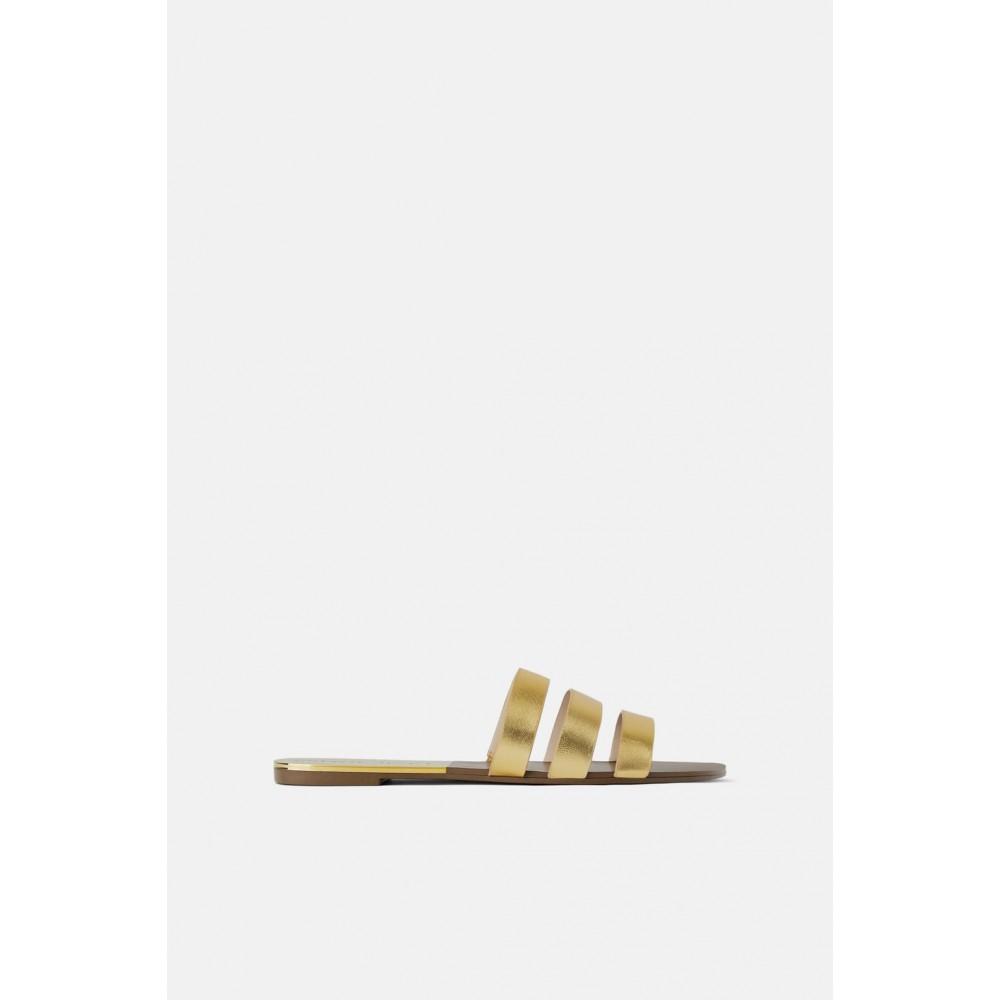 Zara Flat Leather Triple Strap Sandals