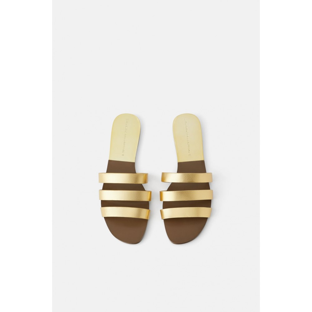 Zara Flat Leather Triple Strap Sandals