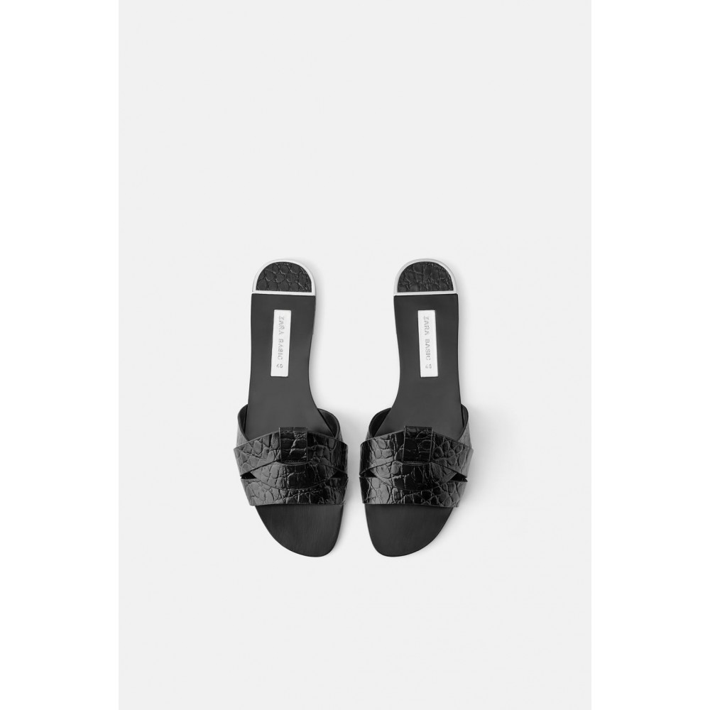 Zara Animal Print Leather Flat Sandals (Black)