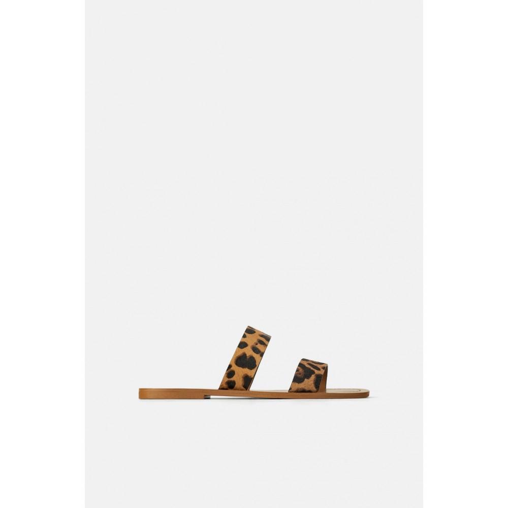 Zara Leather Flat Sandals With Animal Print