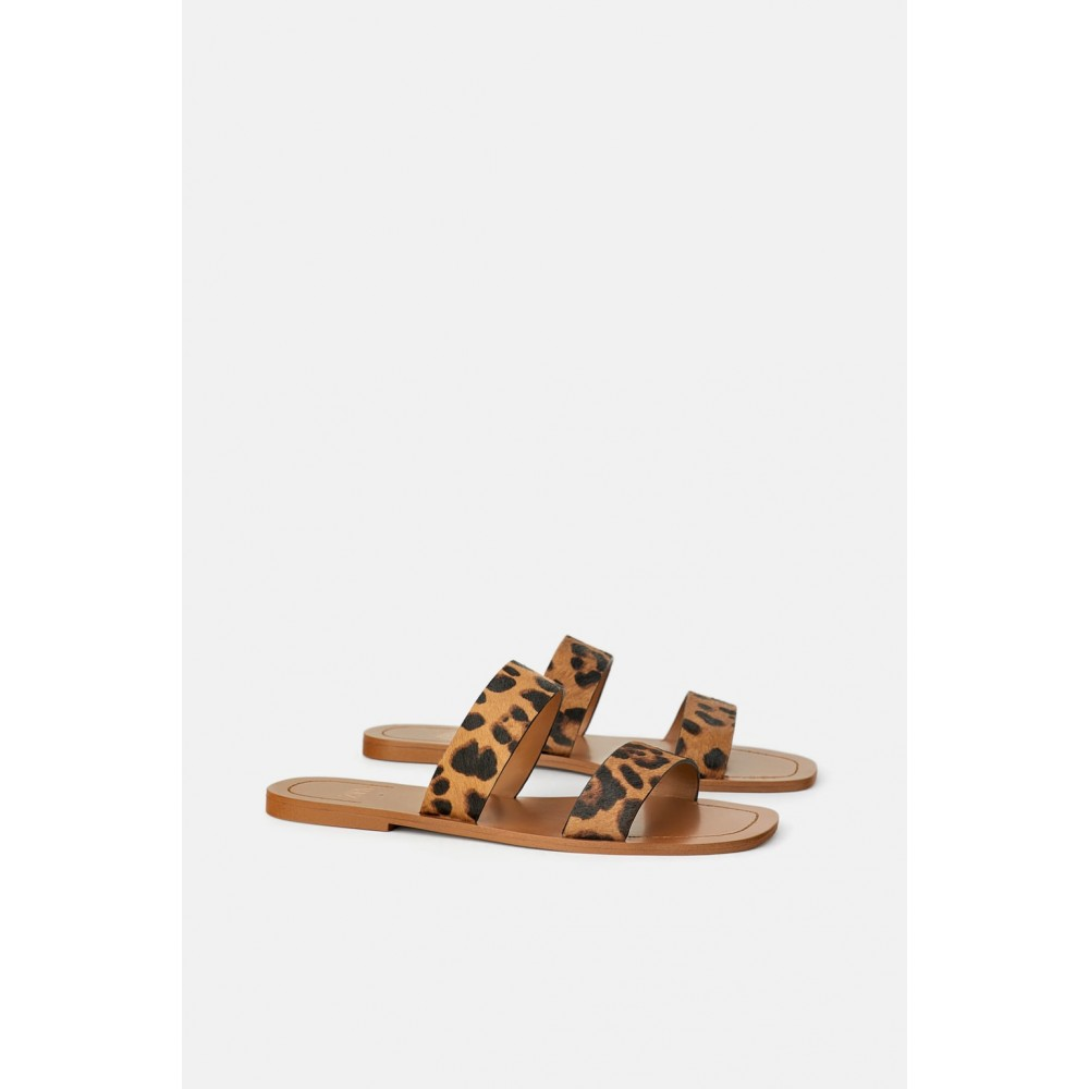 Zara Leather Flat Sandals With Animal Print