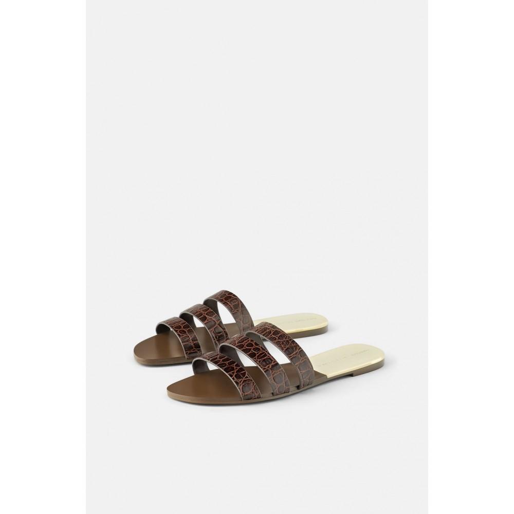 Zara Animal Print Leather Flat Sandals