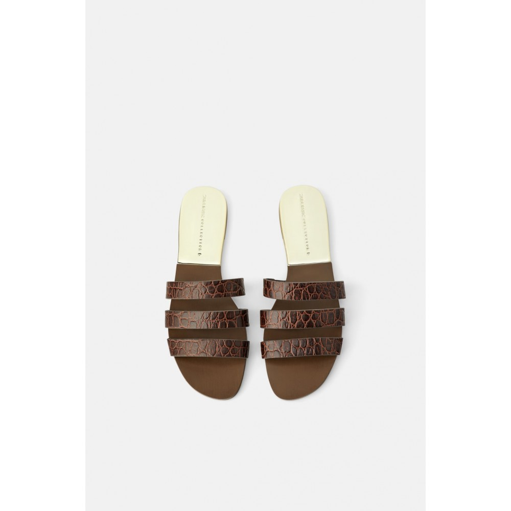 Zara Animal Print Leather Flat Sandals