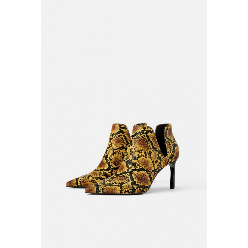 Zara Animal Print Mid Heel Ankle Boots