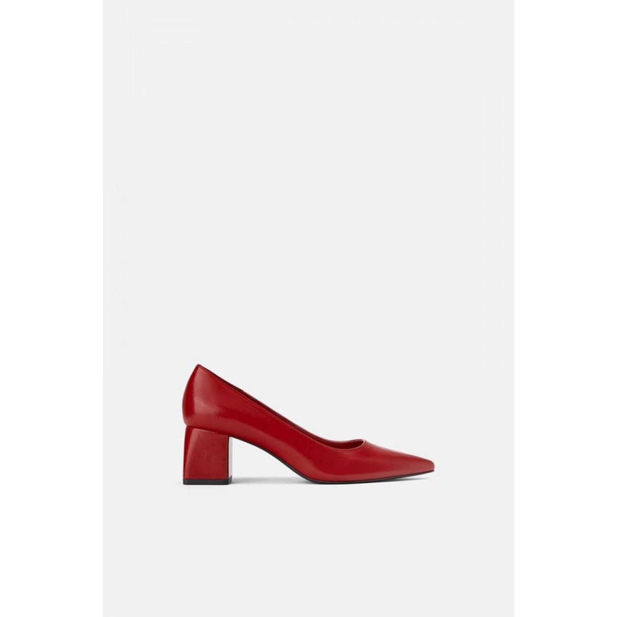 Zara Block-Heel Shoes (Red)