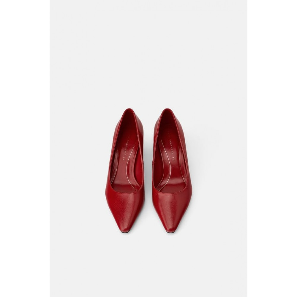 Zara Block-Heel Shoes (Red)