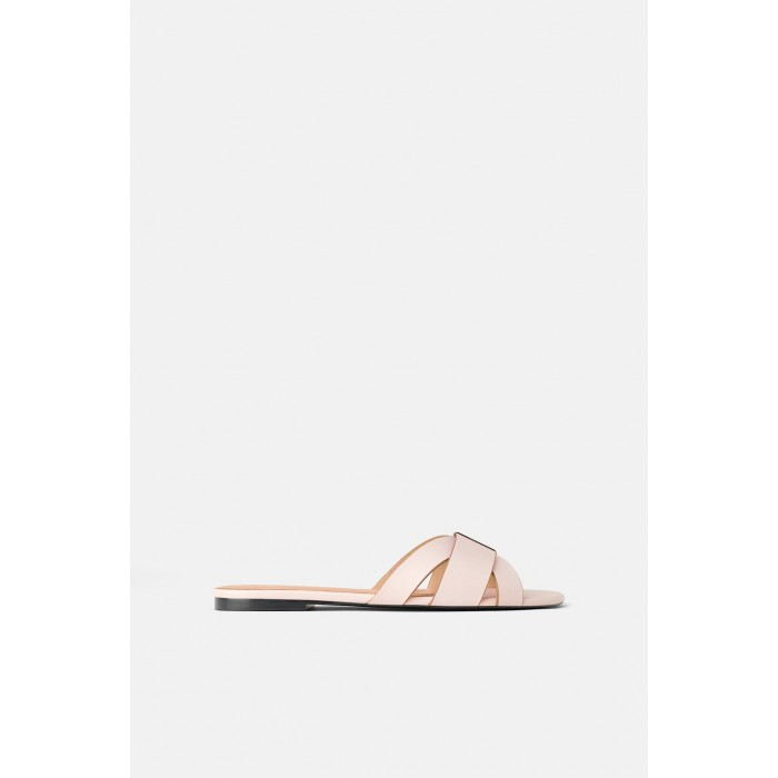 Zara Flat Sandals With Metal Trim