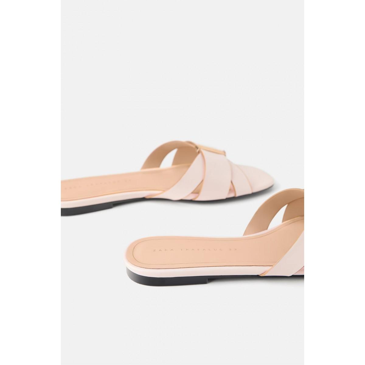 Zara Flat Sandals With Metal Trim