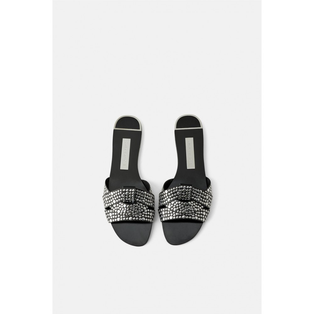 Zara Flat Criss Cross Sandals With Studs