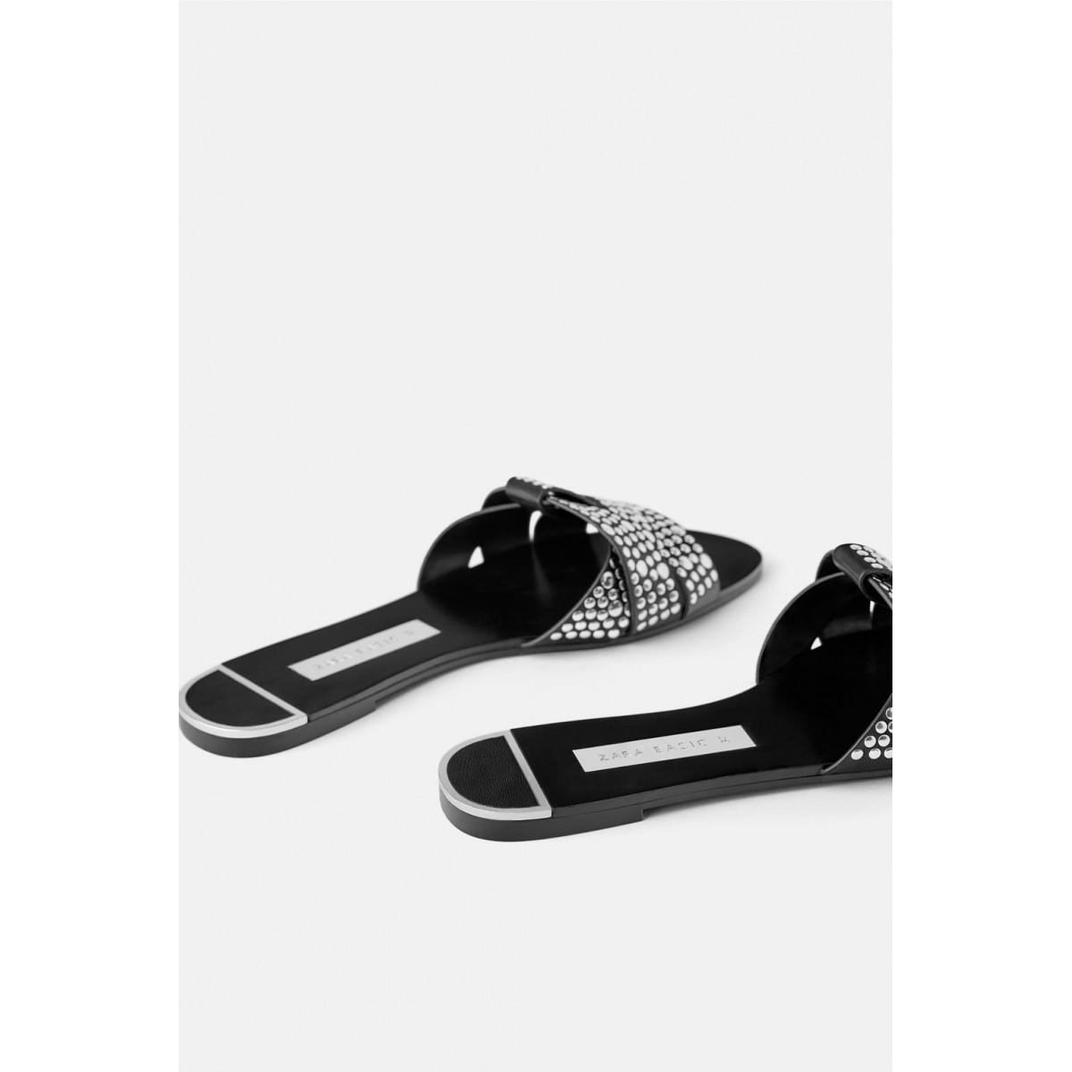 Zara Flat Criss Cross Sandals With Studs