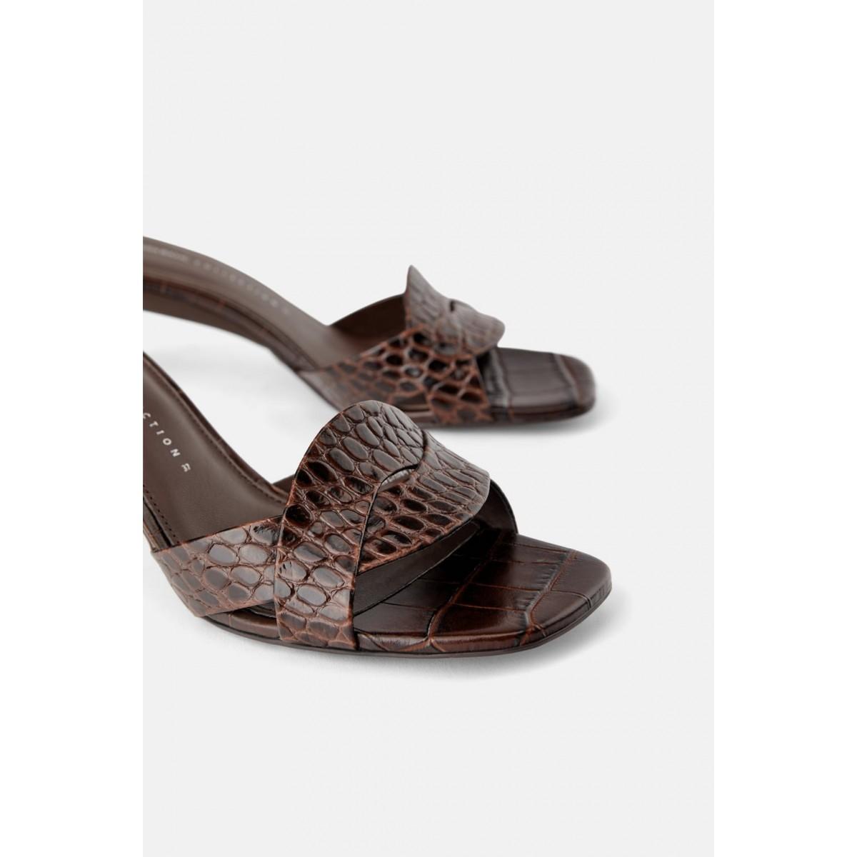 Zara Animal Print Leather High Heel Mules