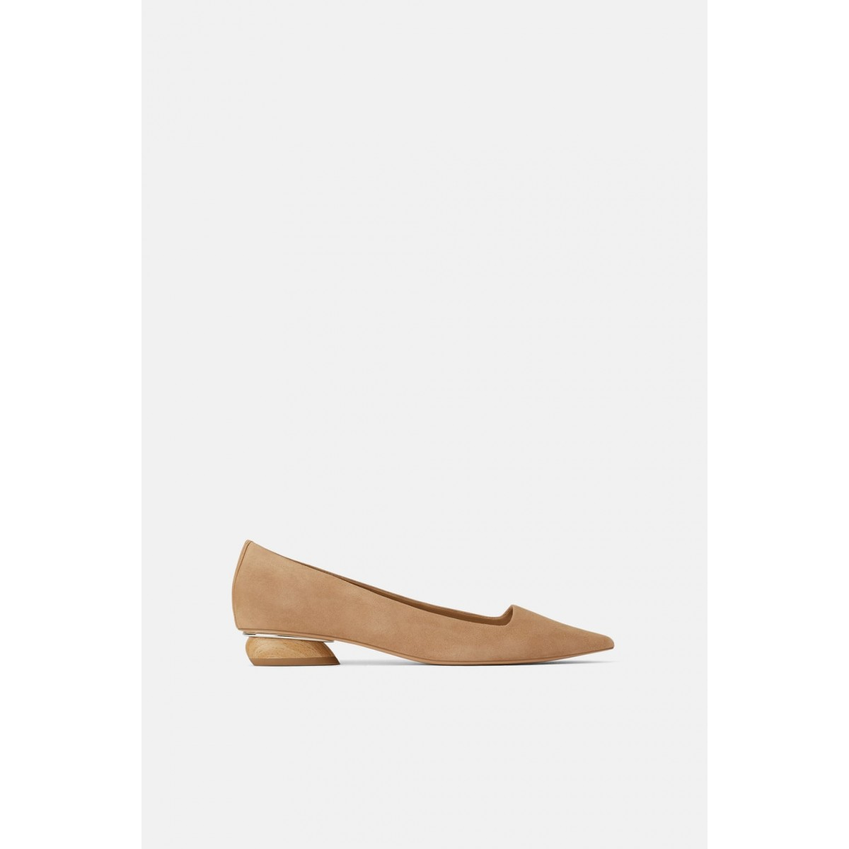 Zara Leather flat shoes with wood effect heel