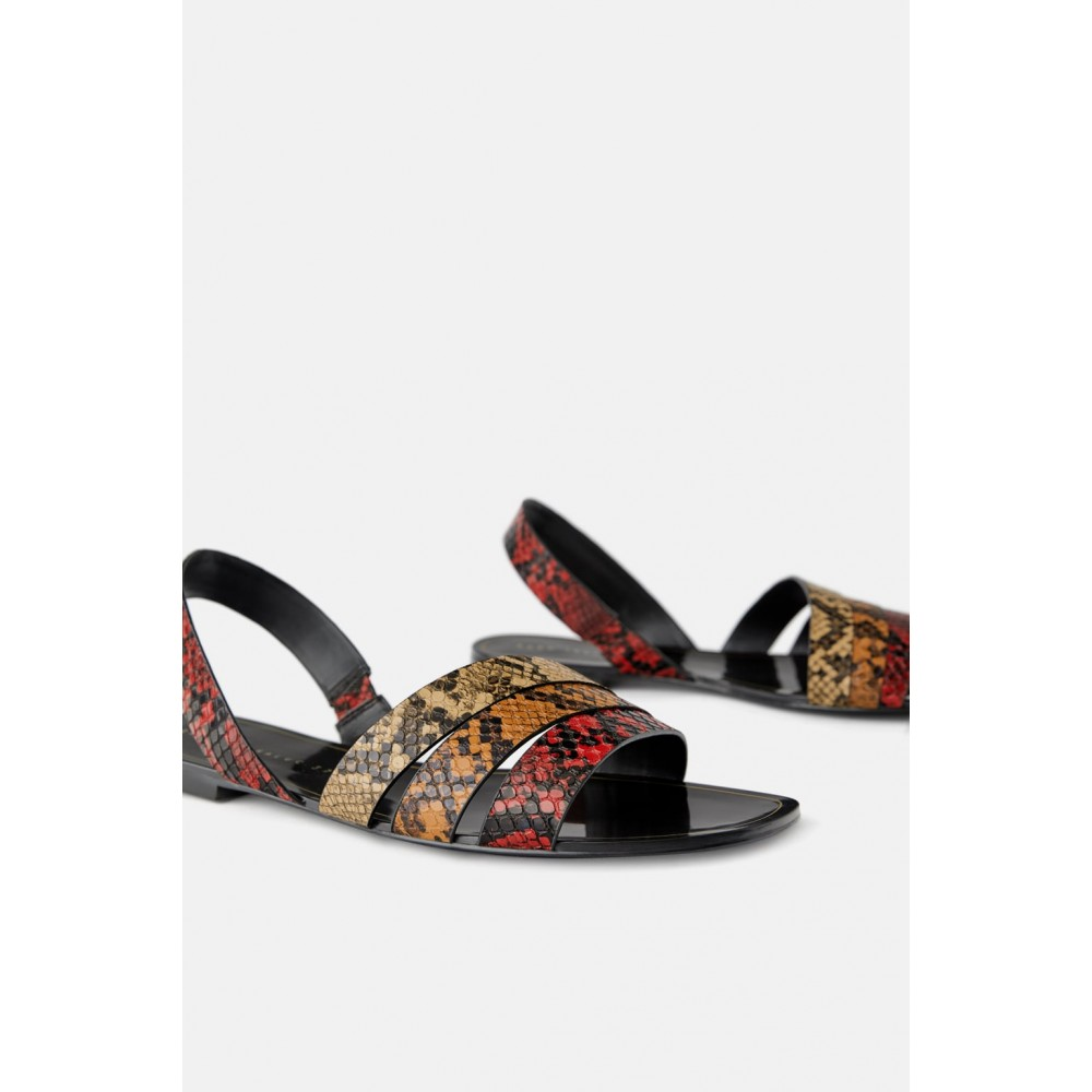 Zara Animal Print Flat Sandals With Straps