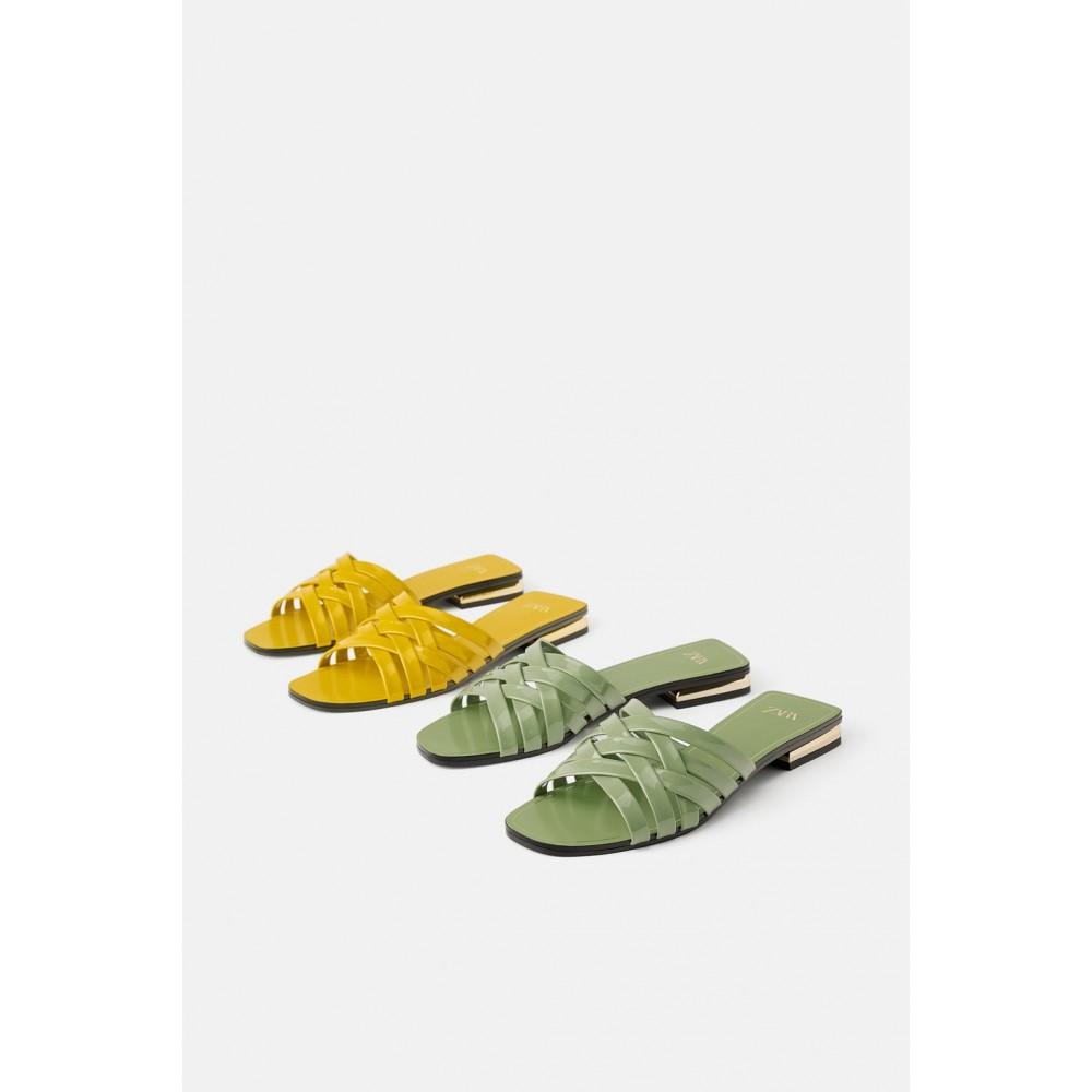 Zara Glossy Flat Sandals