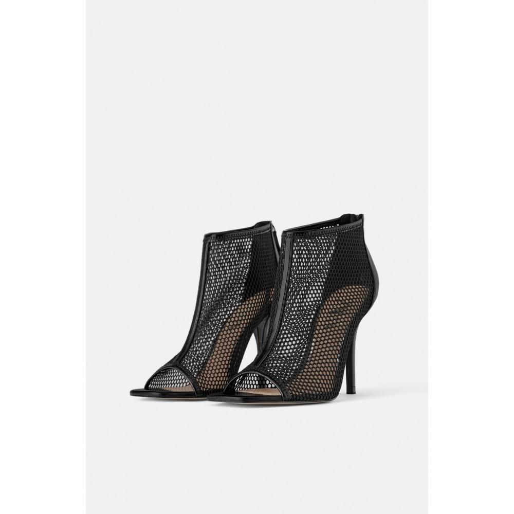 Zara Wraparound Mesh Heeled Sandals