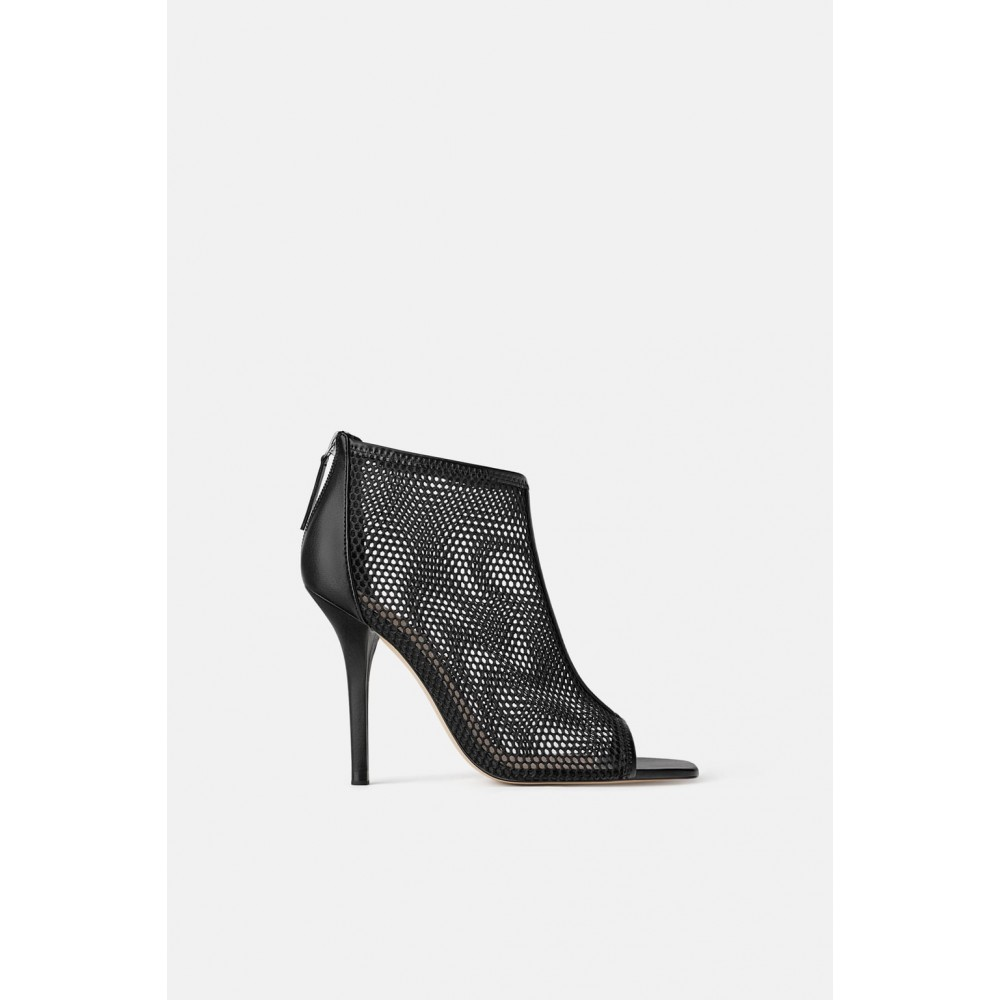 Zara Wraparound Mesh Heeled Sandals