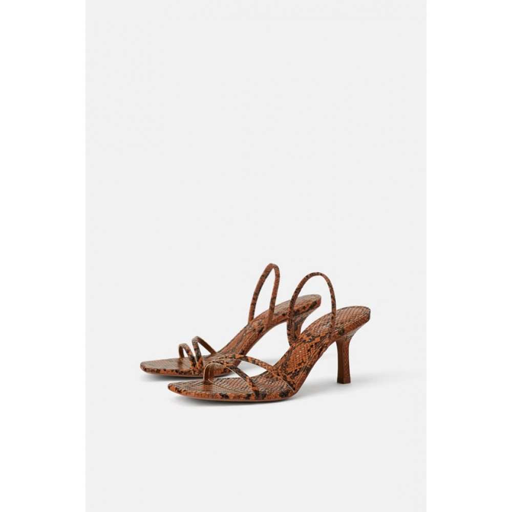 Zara Mid - Heel Sandals With Elastic Band Detail