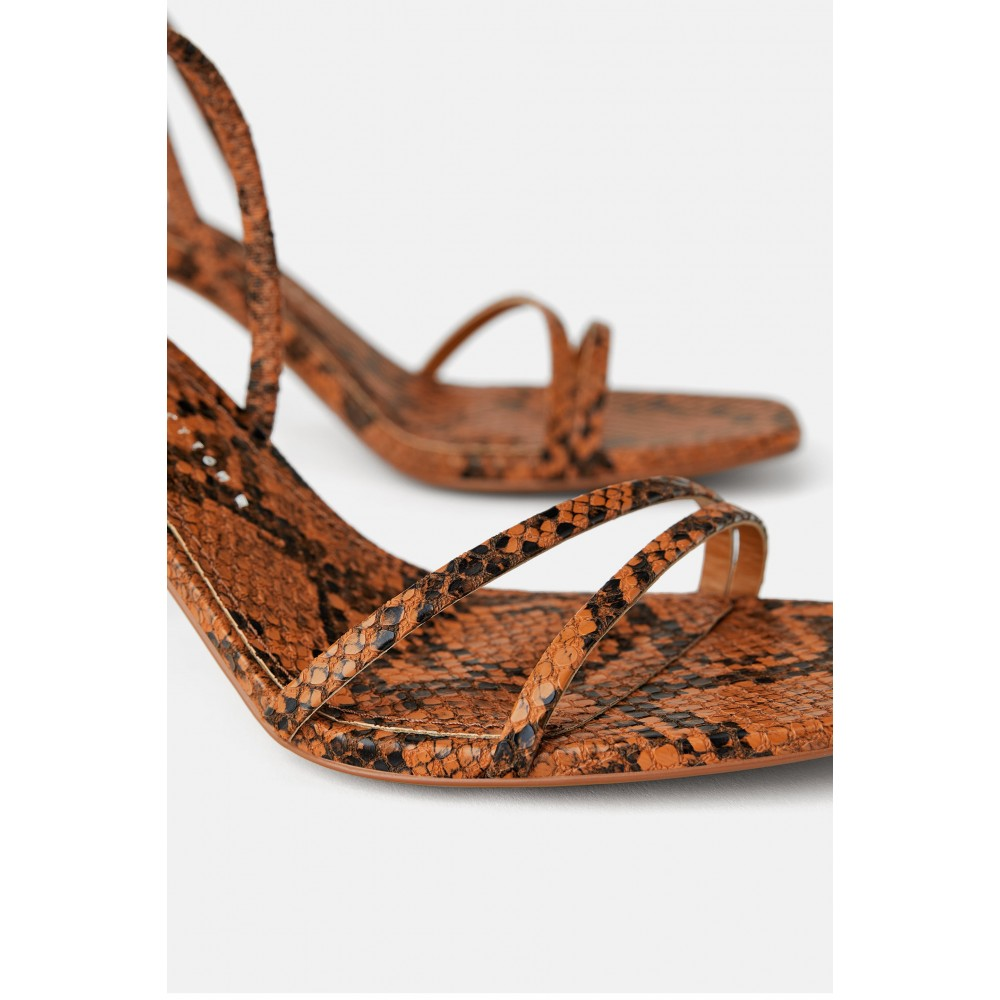 Zara Mid - Heel Sandals With Elastic Band Detail