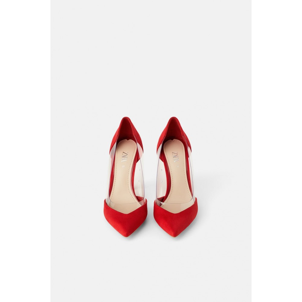 Zara Vinyl High-Heel Shoes (Red)