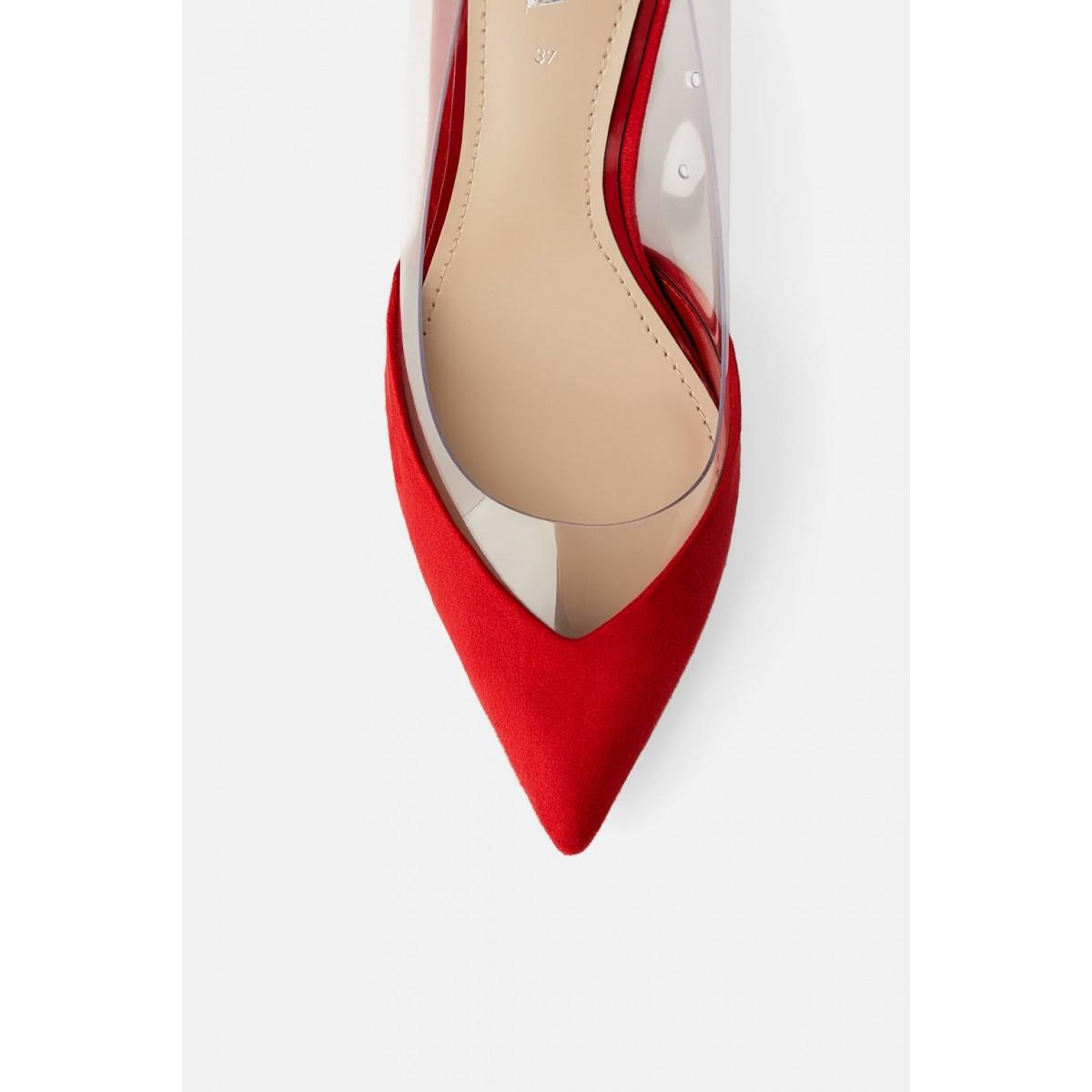 Zara Vinyl High-Heel Shoes (Red)