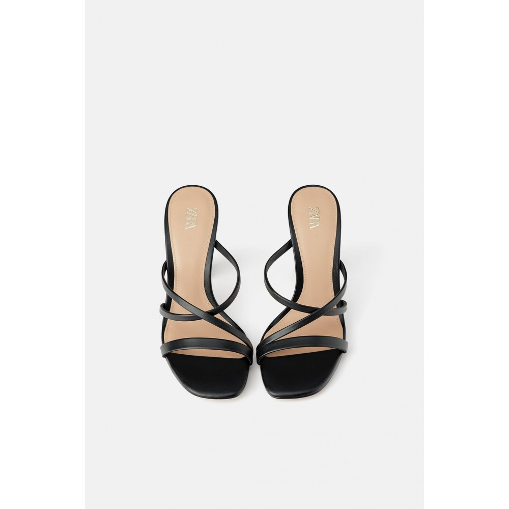 Zara Sandals With Contrast Round Heel