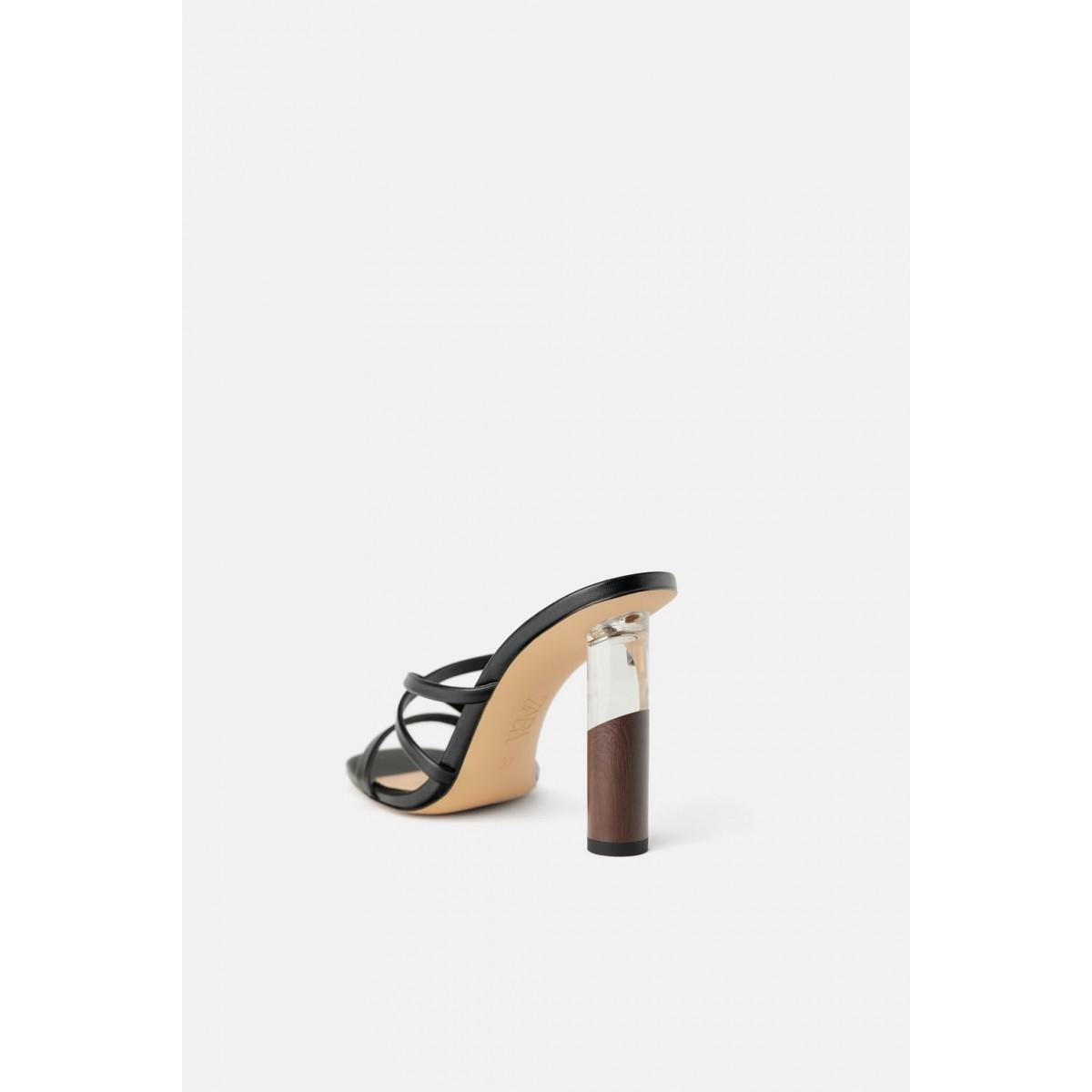 Zara Sandals With Contrast Round Heel