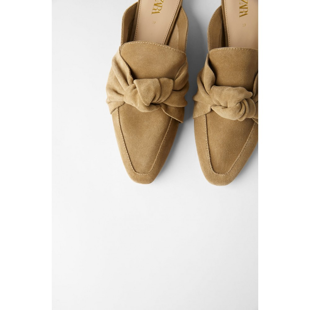 Zara Leather Mule Loafers With Bow
