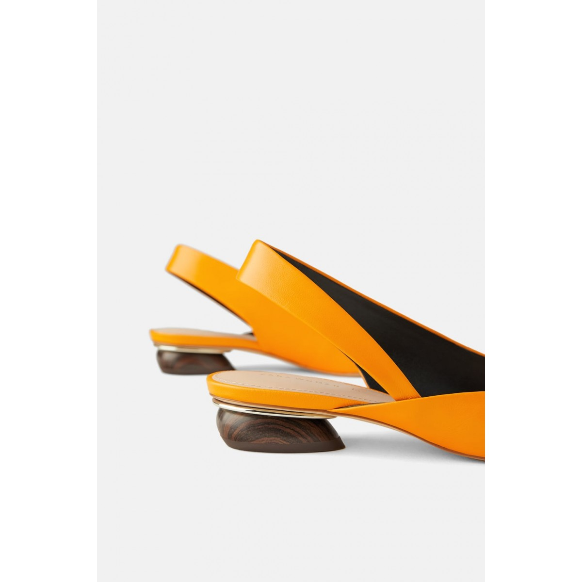 Zara Leather Slingback Ballerinas With Wooden
