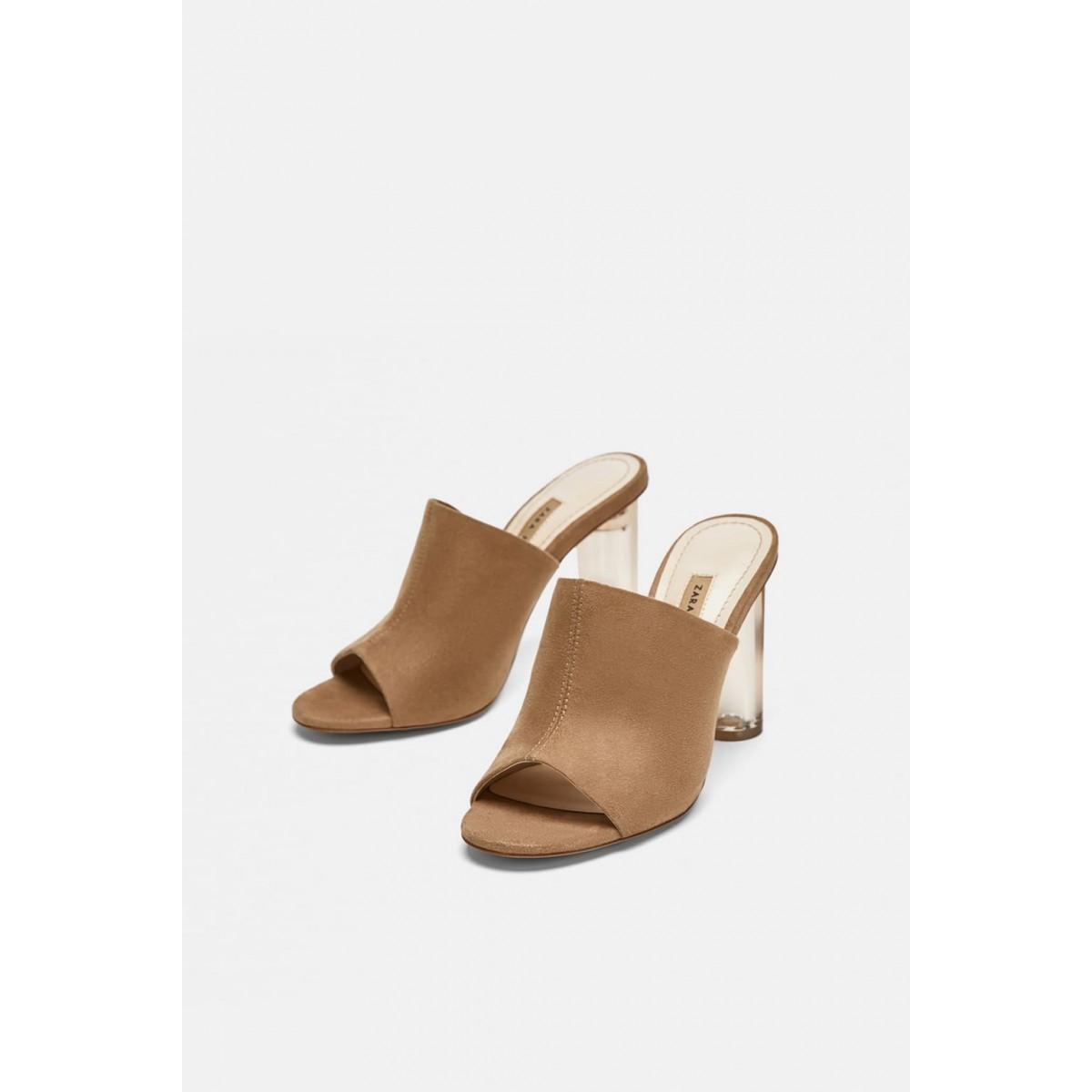 Zara High Heel Sandals With Methacrylate Heels