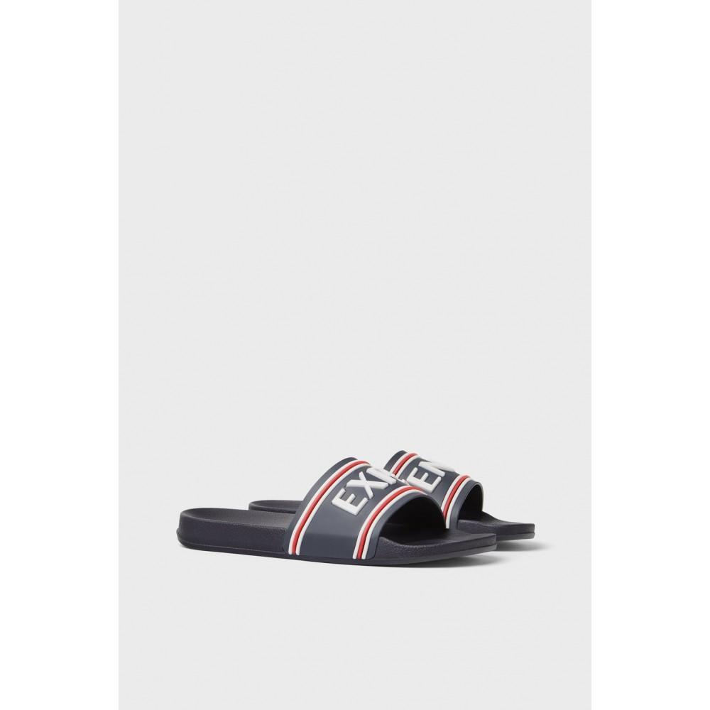 Zara Men Sandals With Slogan On Vamp