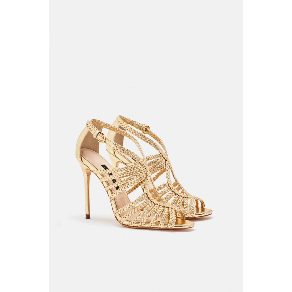 Zara Caged High-Heel Sandals With Braded Straps