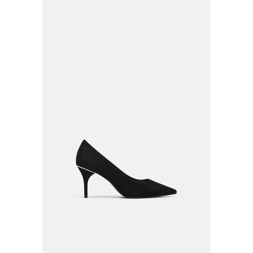Zara High Heeled Shoes With Metallic Detail