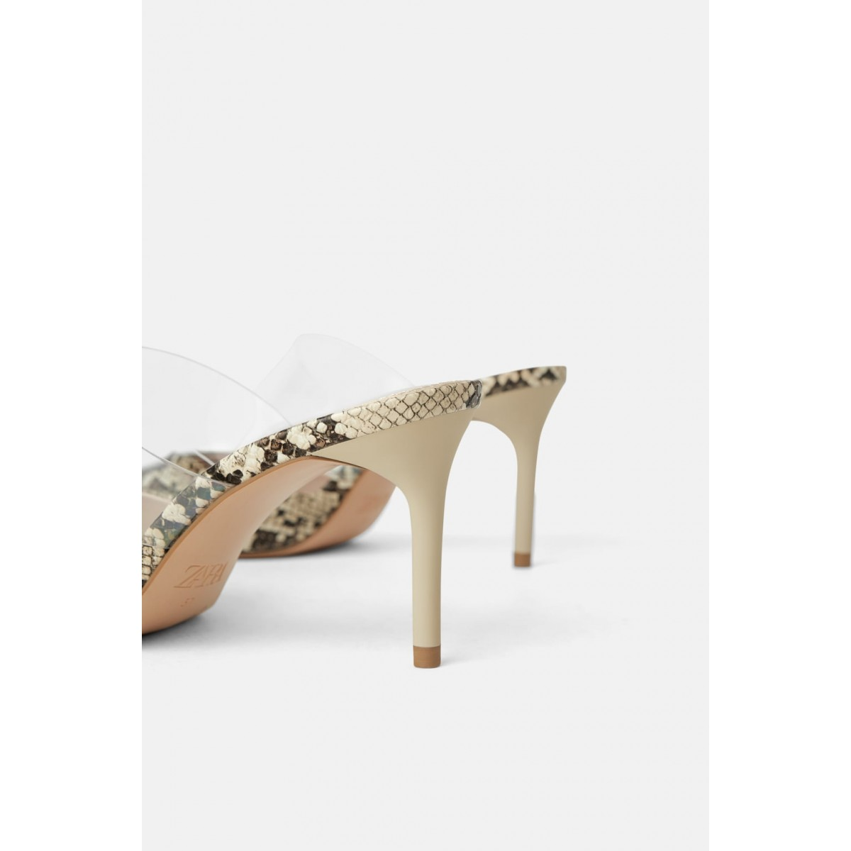 Zara Vinyl And Animal Print Heeled Mules