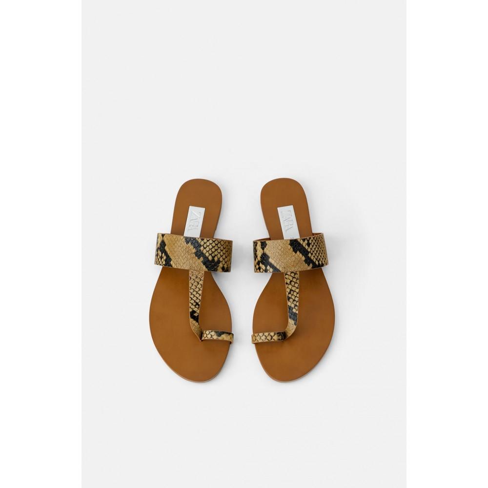 Zara Animal Print Flat Sandals
