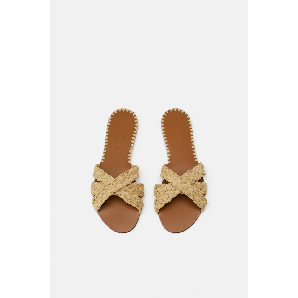 Zara Natural Raffia Flat Sandals