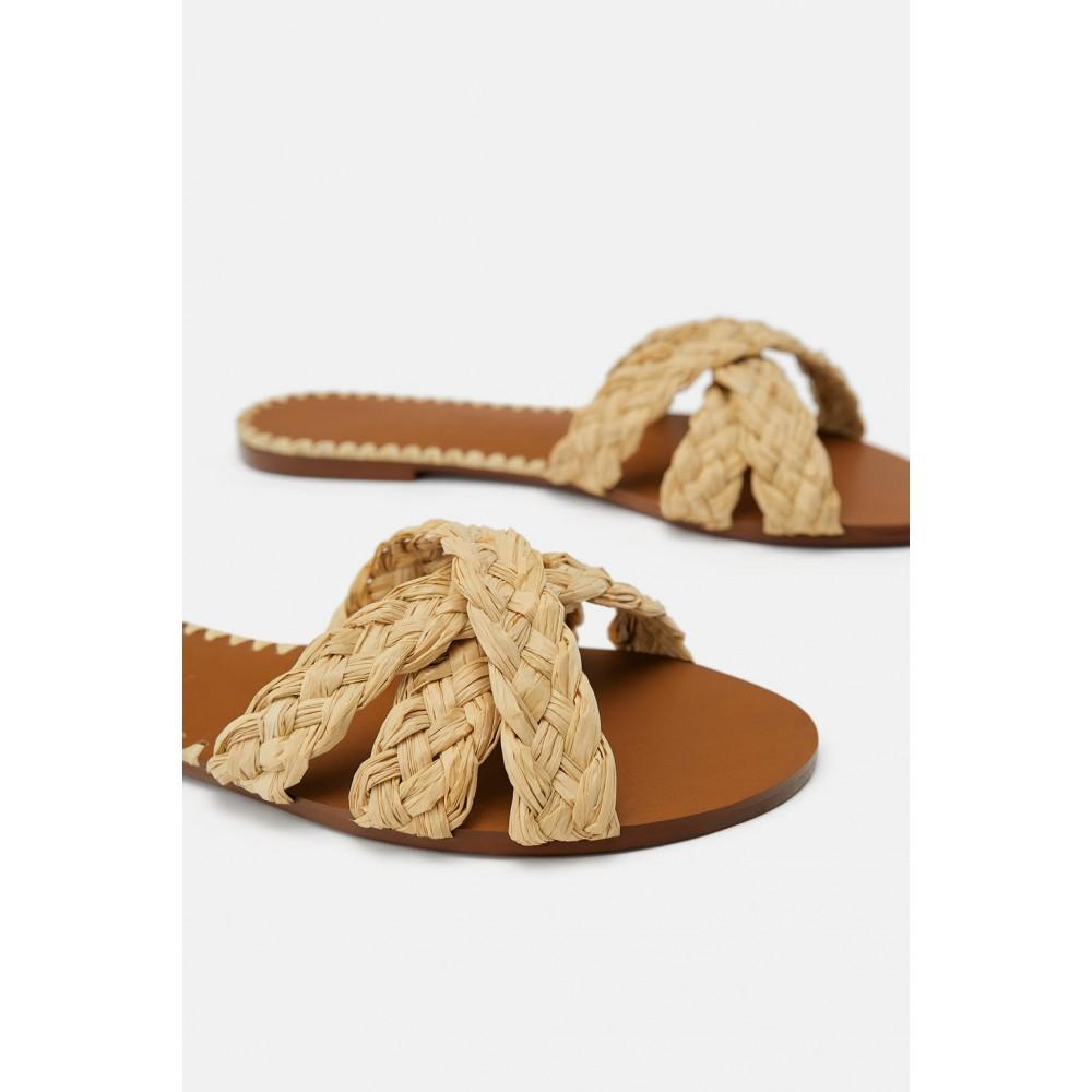 Zara Natural Raffia Flat Sandals