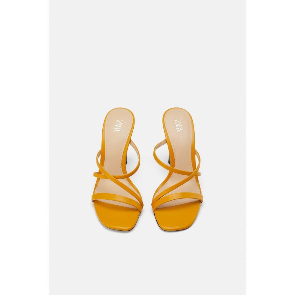 Zara Mules With Contrast Round Heel Detail