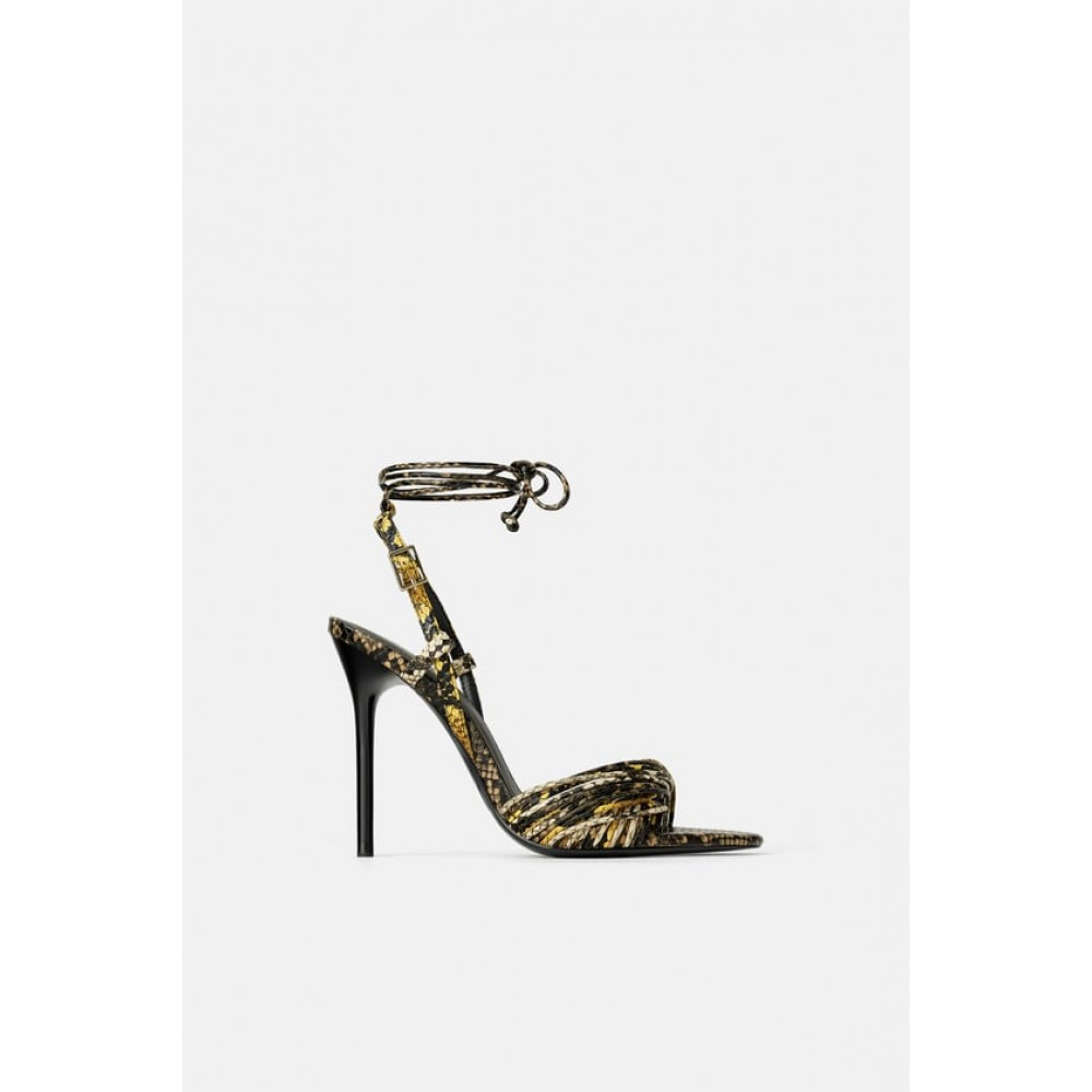 Zara High Heel Sandals With Animal Print Straps