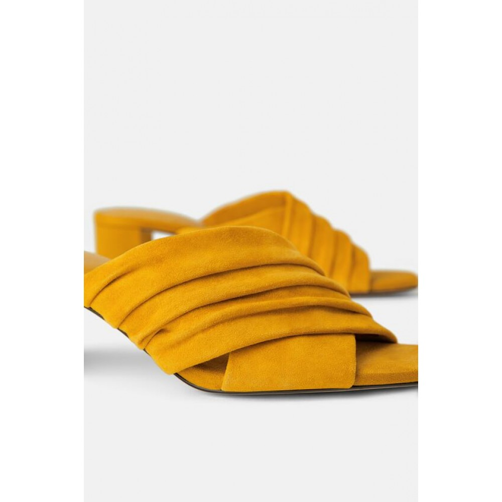 Zara Leather Heeled Mules (Yellow)