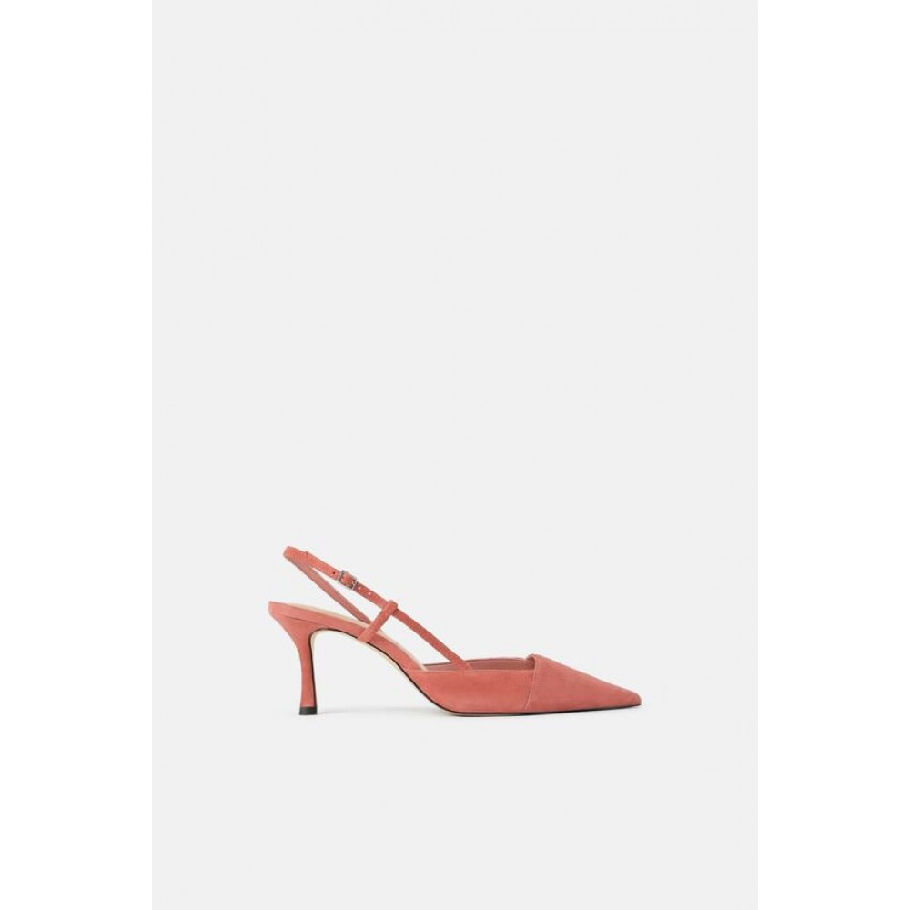 Zara Asymmetric Leather High - Heel Slingback Shoes