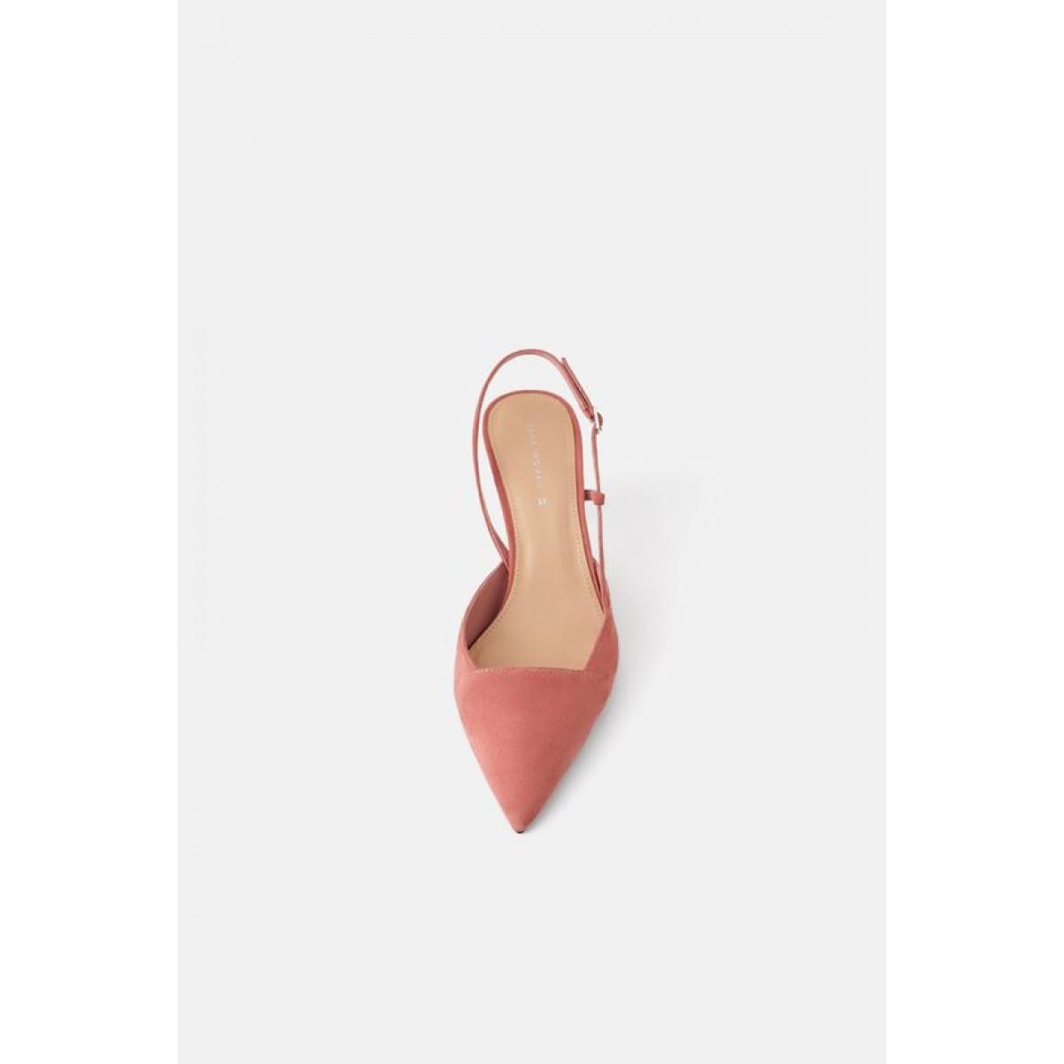 Zara Asymmetric Leather High - Heel Slingback Shoes