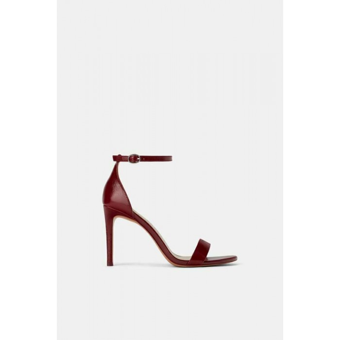 Zara Leather High Heel Sandals (Maroon)